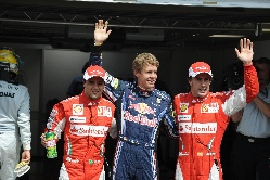 Sebastian Vettel, Fernando Alonso, Felipe Massa