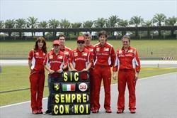 Il Team Ferrari onora la memoria di Simoncelli