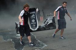 Gp Spagna - Incendio box Williams