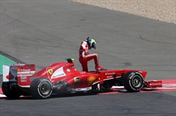 Gp Germania - Massa si ritira dopo un testacoda