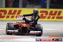 Webber sulla Ferrari di Alonso