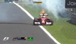 Libere Brasile 2014 - Ferrari con motore in fiamme