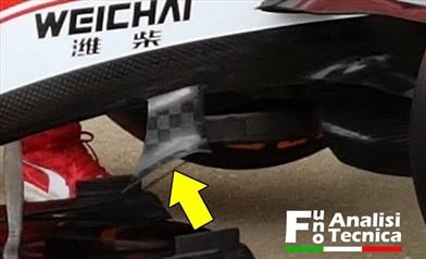 Gp Silverstone: la Ferrari aggiunge due profili sopra allo splitter