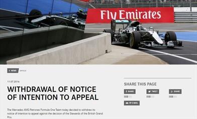 Mercedes: ritirato il ricorso e accettata la penalità