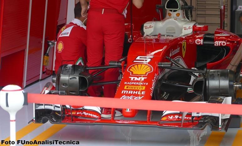 Gp Italia: Ferrari con i cestelli asimmetrici