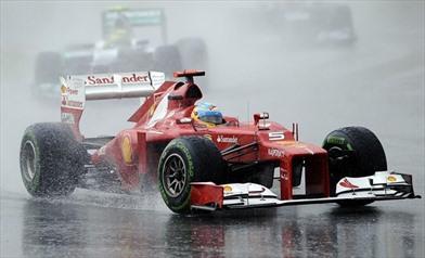 Ferrari su pista bagnata