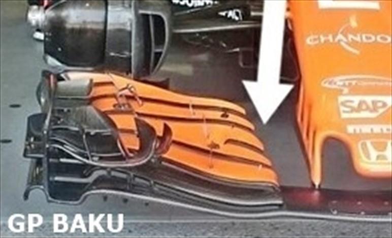 BAKU: McLaren MCL32 con una nuova ala anteriore ed evoluzione Honda