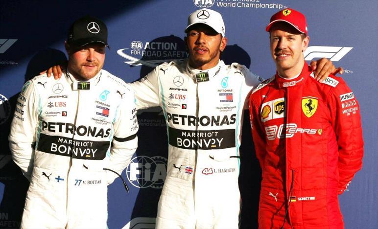 Gp Australia: Hamilton scatta in pole, terza Ferrari Vettel