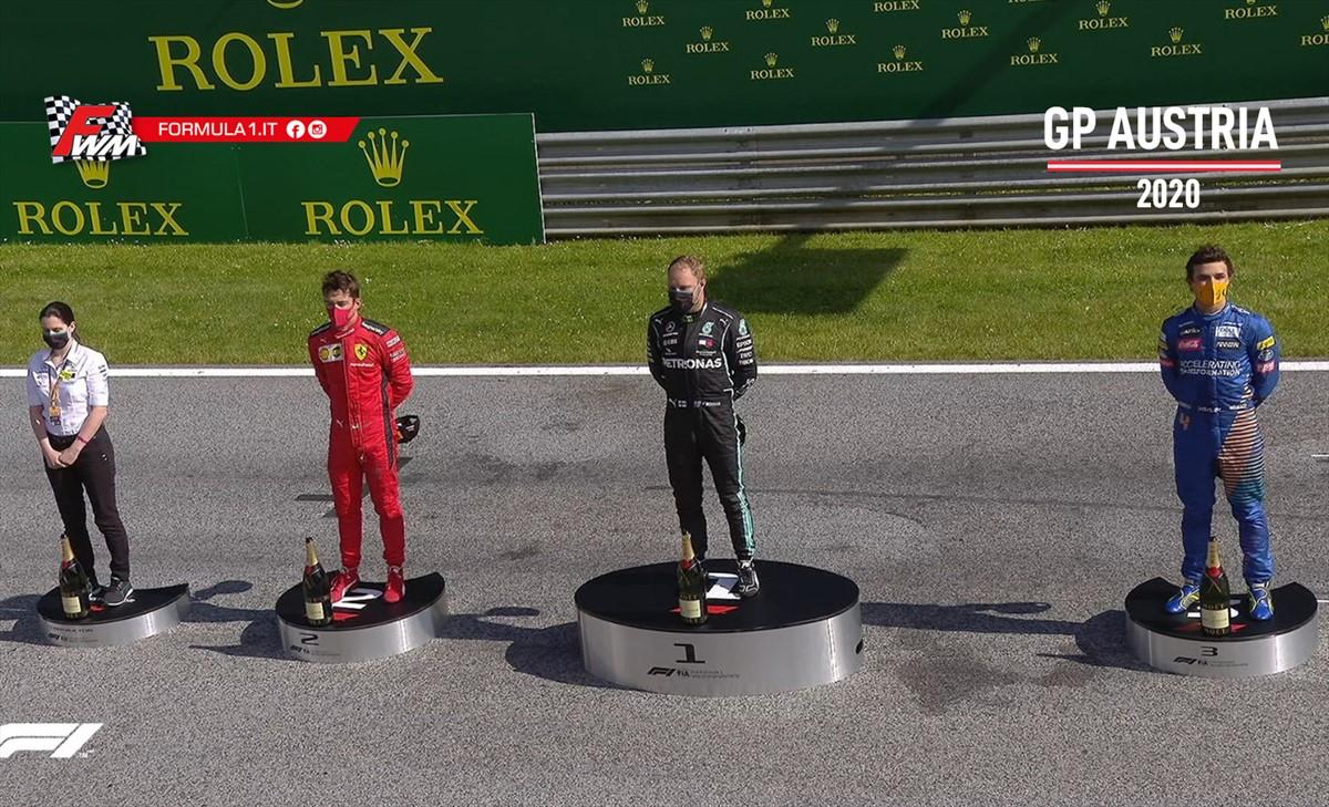 Gp Austria: trionfa Bottas, superba rimonta di Leclerc al secondo posto