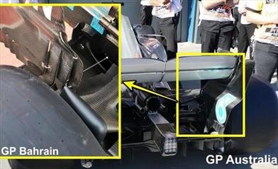 GP BAHRAIN - MERCEDES W09: modificati gli endplate dell'ala posteriore