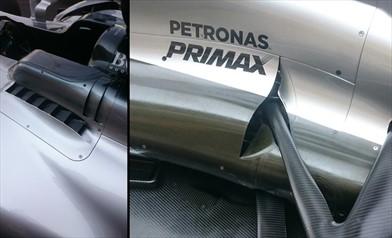 Gp Brasile: le zanne della Mercedes W08 sono cambiate anche nella zona posteriore