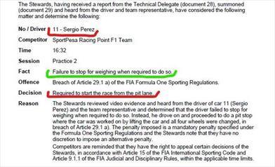 Gp degli USA: Perez, penalizzato, dovrà partire dalla Pit Lane