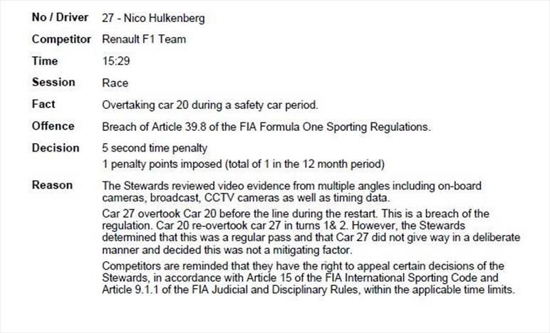 Gp del Brasile: 5 secondi di penalità per Hulkenberg, Incidente di gara quello tra Vettel e Leclerc