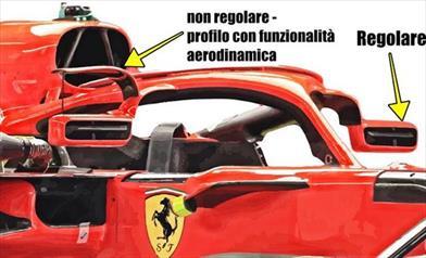 GP MONACO - FERRARI SF71H: mantenuti gli specchietti sull'Halo eliminando i due profili aerodinamici