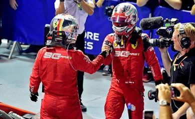 Gp Singapore: Vettel vince davanti a Leclerc, festa inattesa per la Ferrari