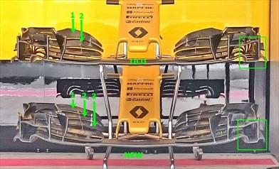 Gp Sochi: Renault con l'ala anteriore provata ai test del Bahrain