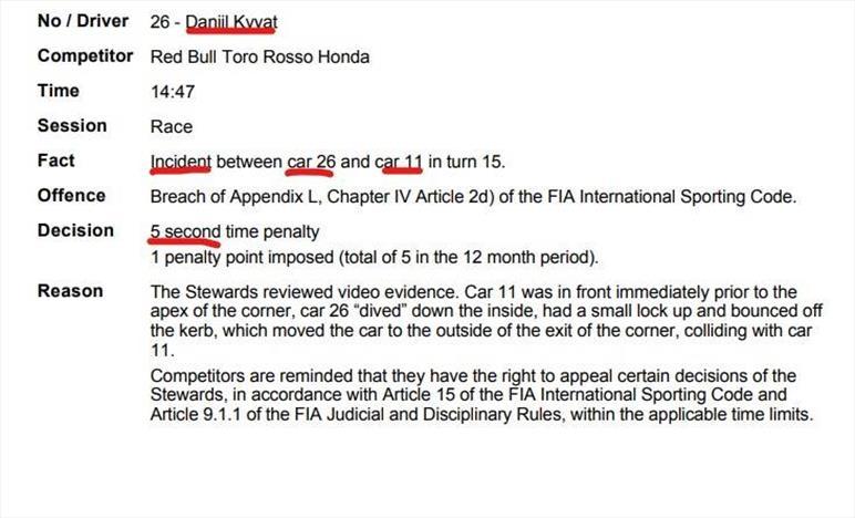 Kvyat penalizzato per il contatto con Perez: Decima la Racing Point di Checo