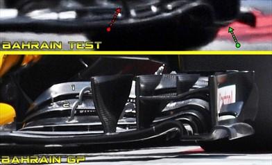 Test Bahrain: ecco le novità sull'anteriore della Renault RS17