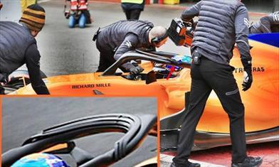 TEST F1 - GIORNO 1: la MCLAREN prova una nuova aerodinamica sull'Halo
