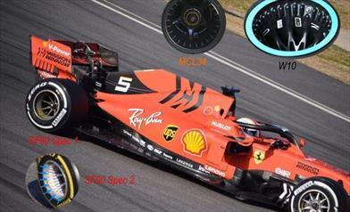 TEST F1 / GIORNO 3 - FERRARI SF90: i nuovi cerchi posteriori hanno i fori in stile Mercedes