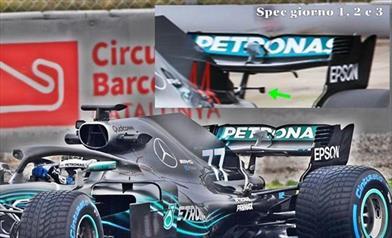 TEST F1 - GIORNO 4: ecco la nuova ala posteriore della MERCEDES W09