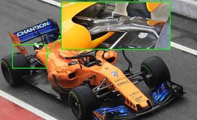 TEST F1 - GIORNO 4: la sospensione posteriore della McLAREN crea parecchio interesse...